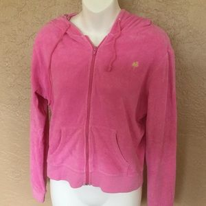 Lilly Pulitzer Pink Terrycloth Hoodie Jacket M EUC